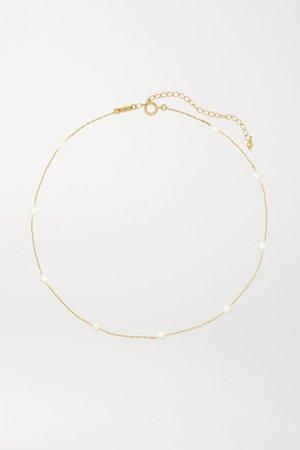 Gold 14-karat gold pearl necklace | Mizuki | NET-A-PORTER