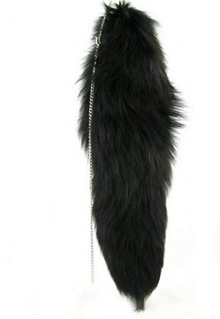 Ursfur Real Black Fox Fur Tail Tag Keychain Bag Hanging Tassel Festival Gift at Amazon Women's Clothing store: Novelty Keychains