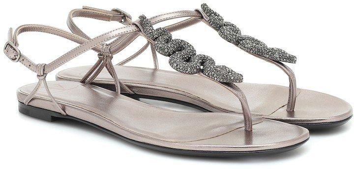 embellished metallic leather sandals