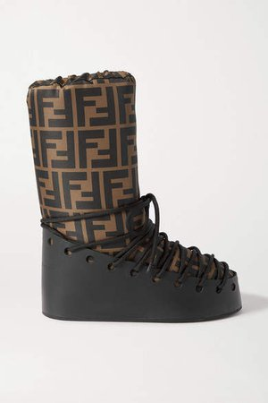 Printed Shell And Leather Snow Boots - Brown