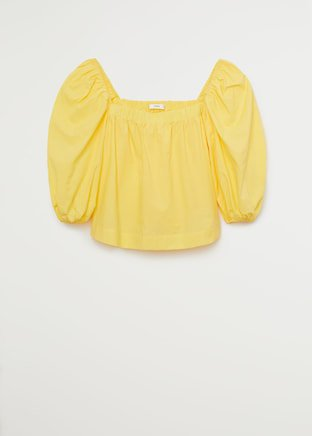 Puff sleeve top - Women | Mango USA yellow