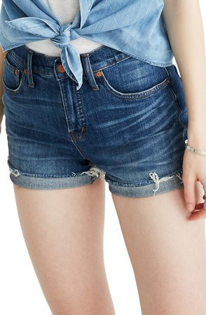 High Rise Cuffed Denim Shorts