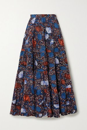 Sylvie Pleated Printed Cotton Midi Skirt - Blue