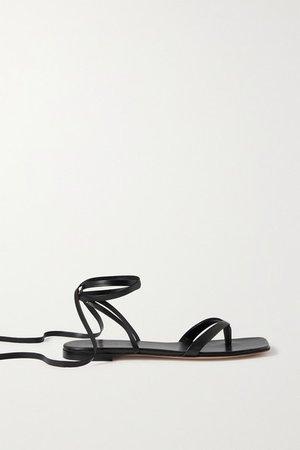 Lace-up Leather Sandals - Black
