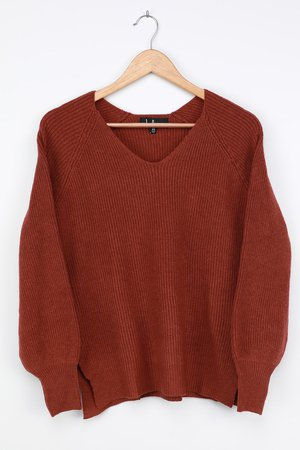 Rust Red Sweater - Balloon Sleeve Sweater - V-Neck Sweater Top