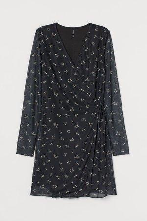 Mesh Wrap Dress - Black