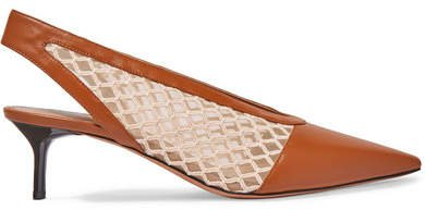 Ane Embroidered Tulle And Leather Slingback Pumps - Tan