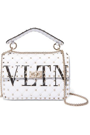 Valentino | Valentino Garavani The Rockstud logo-printed quilted leather shoulder bag | NET-A-PORTER.COM