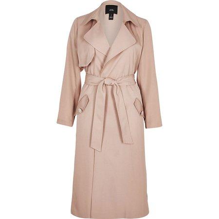 Light pink tie belted duster jacket | River Island