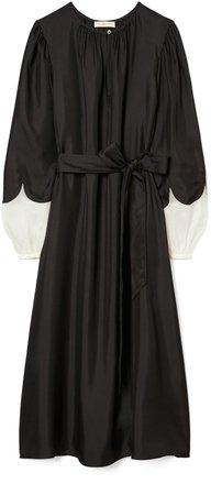 Scalloped Sleeve Silk Dress
