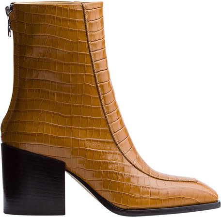 Aeyde Lidia Croc-Embossed Leather Boots