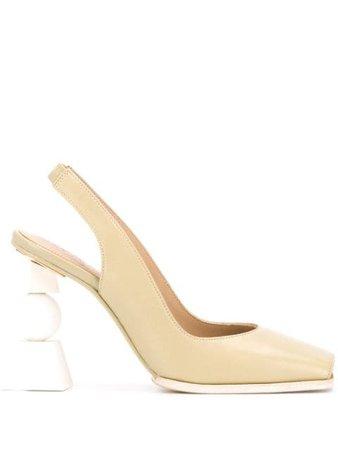Green Jacquemus block heel pumps 203FO23203407500GREEN - Farfetch