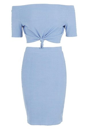 Boohoo blue ribbed co-ord