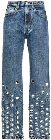 Perforated Straight-Leg Jeans