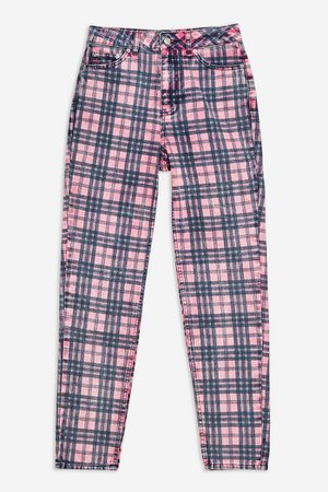 Pink Check Mom Tapered Jeans   Topshop