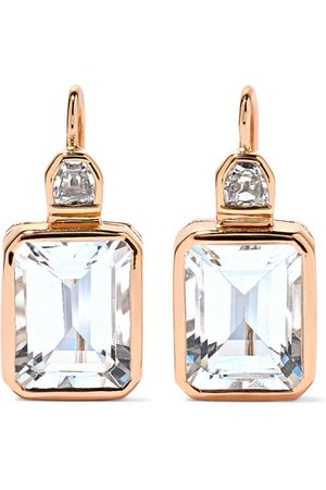 Dezso by Sara Beltrán | Deco 18-karat rose gold, aquamarine and diamond earrings | NET-A-PORTER.COM