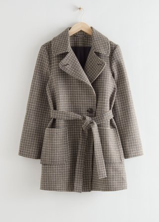 Belted Single Breasted Coat - Black Checks - Jackets & Coats - & Other Stories