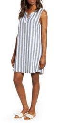 Jaylene Stripe Sleeveless Linen & Cotton Shift Dress