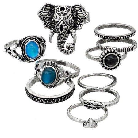 Sterling Silver Black & Blue Stone Ring Set