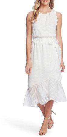 Asymmetrical Ruffle Sleeveless Midi Dress