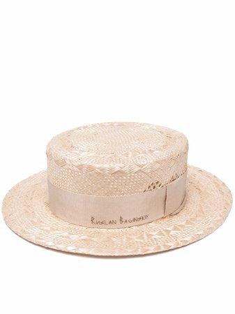 Ruslan Baginskiy Embroidered Logo Straw Hat - Farfetch