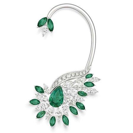 Golden Oasis Vegetal Laces ear emerald cuff earring