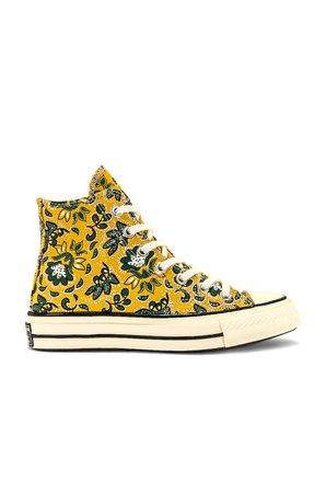 Converse Chuck 70 Hi Sneaker in Gold Dart, Egret & Fire | REVOLVE