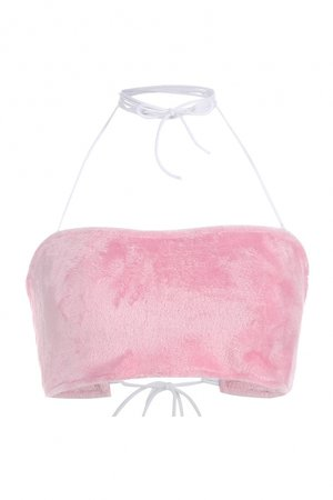 New Trendy Sexy Pink Halter Neck Basic Solid Cropped Fluffy Cami Top - Beautifulhalo.com