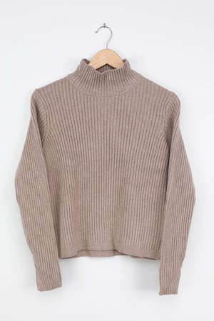 Heather Taupe Sweater - Turtleneck Sweater - Ribbed Knit Sweater - Lulus