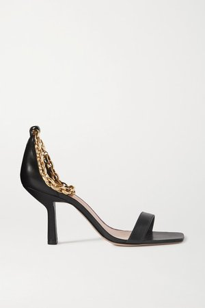 Chain-embellished Leather Sandals - Black