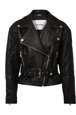 GRLFRND | Charlie crinkled-leather biker jacket | NET-A-PORTER.COM