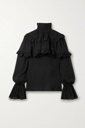 Black Ruffled tiered silk-chiffon blouse | SAINT LAURENT | NET-A-PORTER