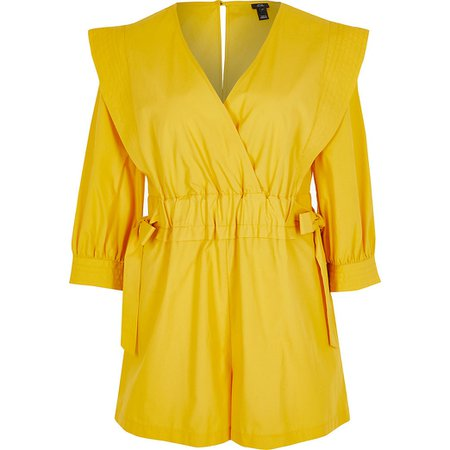 Yellow ruched tie waist wrap playsuit | River Island