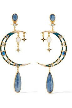 moon stars space earrings
