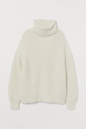 Turtleneck Sweater - White - Ladies | H&M US