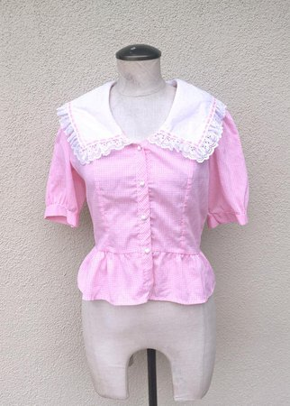 70's Western Pink Gingham Shirt in Women's Medium with | Etsy
