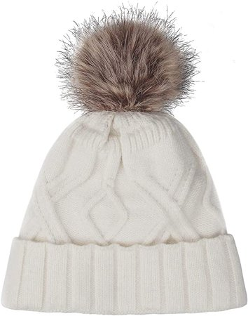 OZERO Pom Pom Hats for Women, Knitting Trendy Warm Skull Cap Slouchy Beanie with Thick Fleece Lined, White at Amazon Women's Clothing store