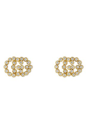 Gucci Double-G Diamond Stud Earrings | Nordstrom