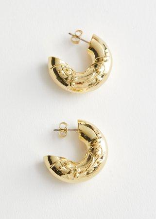 Embossed Chunky Hoop Earrings - Gold - Hoops - & Other Stories