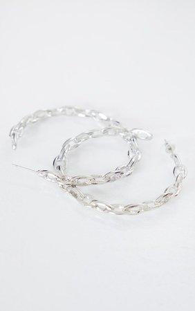 Silver Chain Twist Hoop Earrings | PrettyLittleThing USA