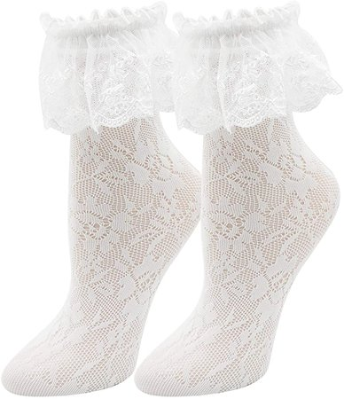 Lovful Women's Lace Anklet Sock with Ruffle, 2 Pairs Set, White at Amazon Women's Clothing store
