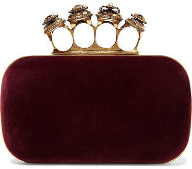 Four Ring Embellished Velvet Clutch - Burgundy