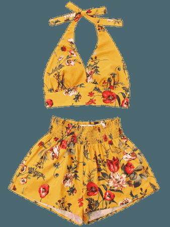 Print Halter Top And Shorts Set - Bee Yellow S