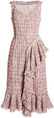 Huishan Zhang Alanis Ruffled Tweed Dress
