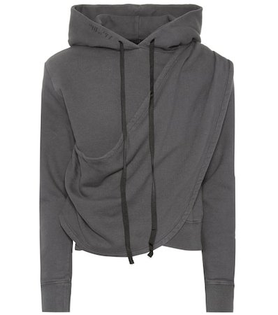 Draped cotton hoodie