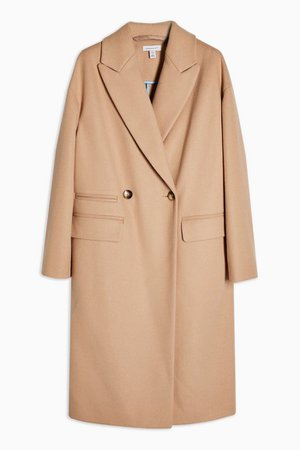 Camel Double Breasted Coat | Topshop
