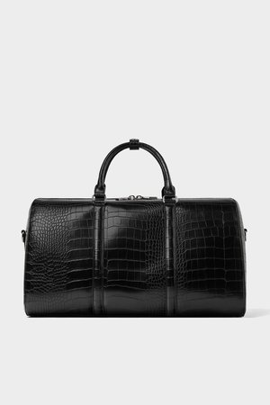 BLACK BOWLING BAG WITH REPTILE - EFFECT EMBOSSING-NEW IN-MAN   ZARA Hungary