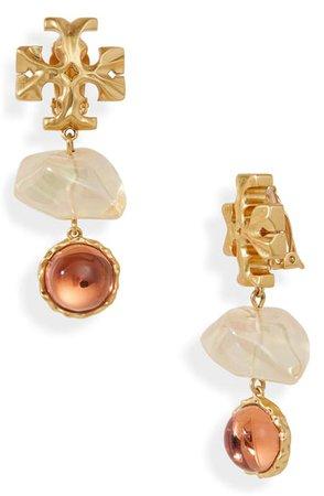 Tory Burch Roxanne Double Drop Clip-On Earrings | Nordstrom