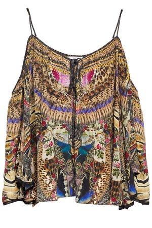 Black Stronger Together cold-shoulder embellished printed silk crepe de chine top | Sale up to 70% off | THE OUTNET | CAMILLA | THE OUTNET