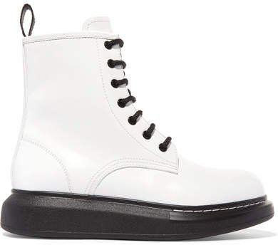 Glossed-leather Platform Ankle Boots - White